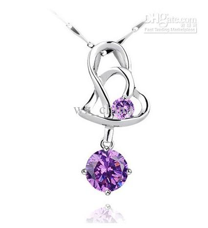 Collier Pendentif Amethyste d'Amour Vintage pour femmes 925 Sterling Sterling Silver Heart to Coeur Crystal Pendentif Collier Chaîne / Hot New!