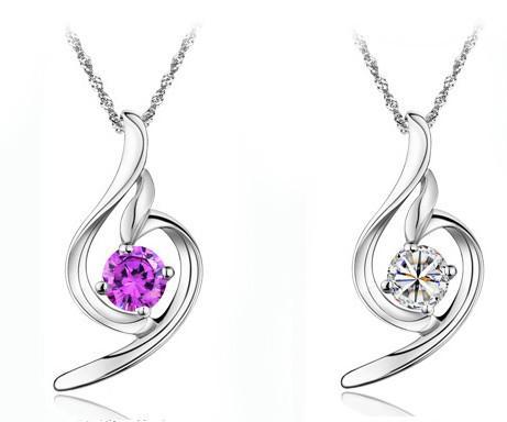Collana del pendente delle donne lunghe della collana del pendente Bohemian 925 dell'argento sterling dell'amore dell'argento di cristallo della collana del pendente di ametista / Trasporto libero Grande prom