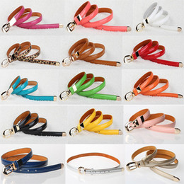 Wholesale Cute Skinny Belts - Womens Fashion Cute Cross Buckle Women Candy Color Thin Skinny PU Leather Belt