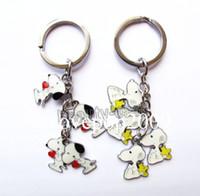 Wholesale pc flashlight - New 20 pcs Snoopy Metal Key Chains Key Ring Gift