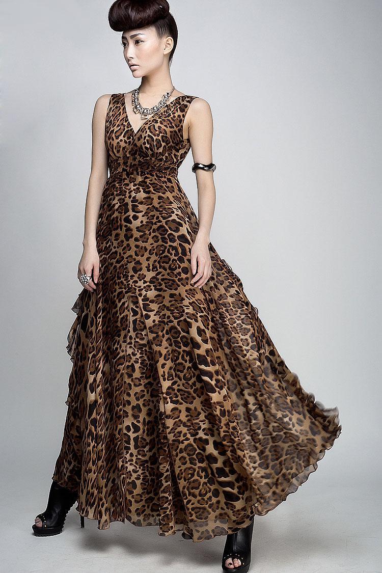 Vestidos das mulheres senhoras leopardo impresso vestido maxi festa à noite boêmio vestido de praia 8808