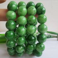 jade verde puro al por mayor-¡NUEVA Llegada! 10mm Natural Pure Green Jade Charm Beads Bracelets Para Las Mujeres Min Order 10 unids Envío Gratis
