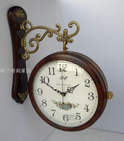 Wholesale Double Wall Clock - Japan beautiful sound, large dial European antique double-sided clocks   solid wood wall clock   pas