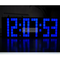Große große Jumbo LED-Uhr Display TableDesk Wand Alarm Temperatur Kalender Digital Timer Blue Clock