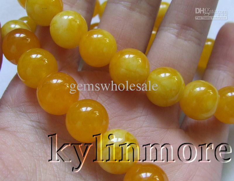 8SE09433a 12mm Yellow Jade Round beads 15.5''