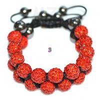 Wholesale Cheap Rhinestone Ball Beads - cheap! Hot! 10mm Red Rhinestone Shamballa Crystal ball bead bracelet.Free Shipping Disco wholesale . HOT hotsale