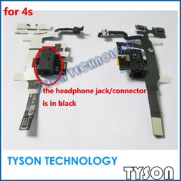 Wholesale Iphone 4s Headphone Jack Volume - for iPhone 4s 4gs Headphone Audio Jack VOLUME KEY Flex Ribbon Cable in black Free Shipping