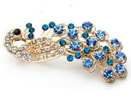 Wholesale Hair Clips Assorted - Crystal Rhinestone Peacock Hairpin Hair Clip - assorted 24pcs lot