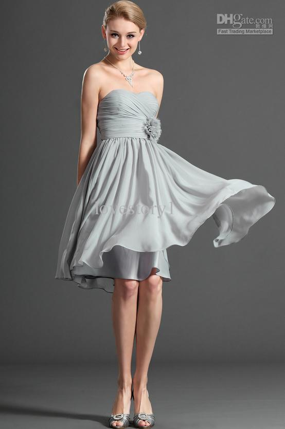 2014 Beautiful Sweetheart Silver Grey A Line Cocktail Dresses ...
