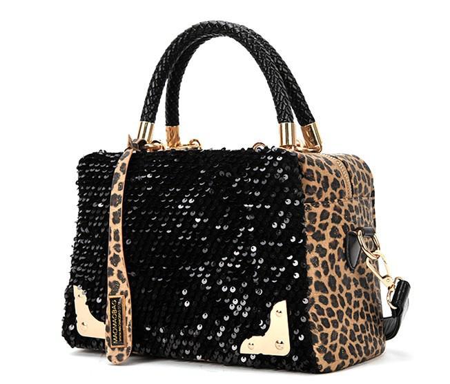 Fashion Leopard Sequins Handbag Lady Shoulder bag Evening bag Messenger Totes  Club bags in stock! 8658af628cfb6