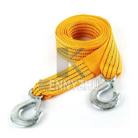 Wholesale Yellow Towing Hook - 3M Vehicle Metal Hook Terylene Braided Strap Towing Rope 3 Tons Loaded Tow Rope Yellow