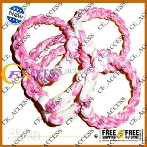 Lote de angariação de fundos 50 Tornado Twist Pink Ribbon Breast Cancer bracelet