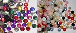 Wholesale Pearl Beads Nail Art - Mixed Colors Flatback 1000 4mm Pearl & 1000 4.8mm Rhinestones Beads For Craft Nail Art