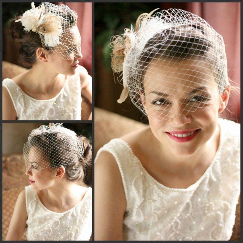 2013 White Tulle Wedding Bridal Hats Feather Beaded Short