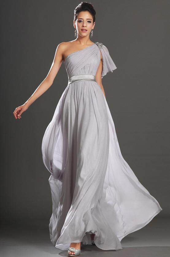 Inexpensive 2014 One Shoulder Light Grey A Line Long Evening Dresses ...