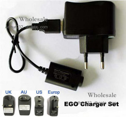 Wholesale Ego Battery Charger Au - Free Ship E-cigarette Electronic Cigarette EGO-T EGO-F EGO-W EGO USB Cable & Wall Charger US EU UK AU for 510 650mAh 900mAh 1100mAh Battery