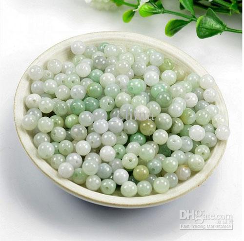 6mm grânulos soltos pequenos encantos pingente natural puro claro birmanês jade bead diy jóias para colares / pulseiras