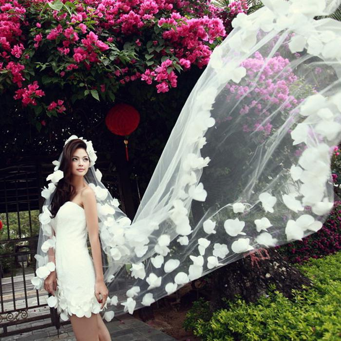 multi layer flower veil long trailing lace bridal veil gloves wedding dress accessories veil