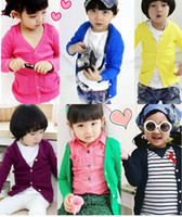 Wholesale Cardigan Match - Spring Style Girls Cardigan Boys Cardigan Eleven Colors Mix Color Children's Sweaters Easy Match Dress 100% cotton comfortable wear