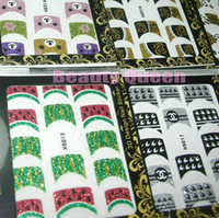 Wholesale Korea Fashion Nail - 24 Designs 2013 Hot Sale Fashion Korea 3D Nail Art French Sticker Tips Glitter Decal Decoration