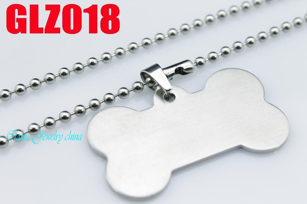 Boa qualidade aço inoxidável 316L dois-lado bancada grande osso pingentes colar dog tag GLZ018