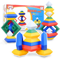 Hot selling New Creative Rhombus Pyramid Building Educational Block Toy Best Birthday For Kids Plastic