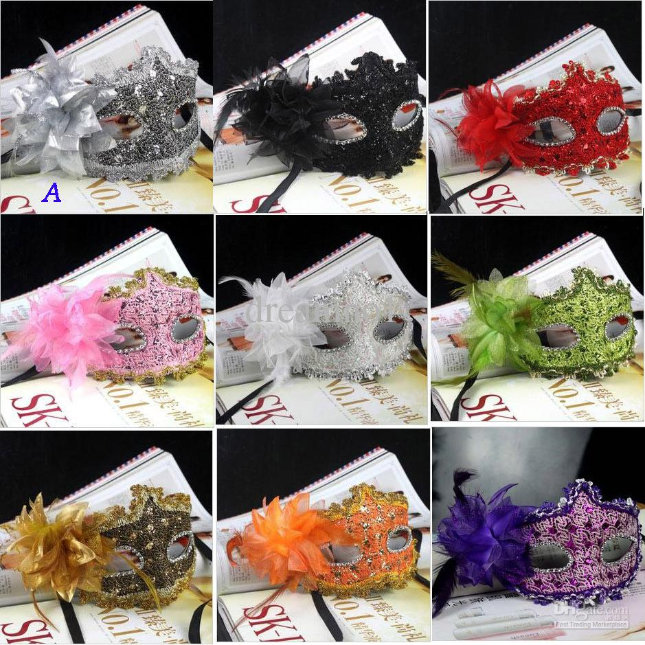 New Exquisite Lace Rhinestone Leather Mask Masquerade Halloween ...