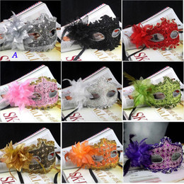 Wholesale White Women Masks - New Exquisite Lace Rhinestone Leather Mask Masquerade Halloween Party Flower Princess Mask For Lady Purple Red Black Gold Pink Silver White