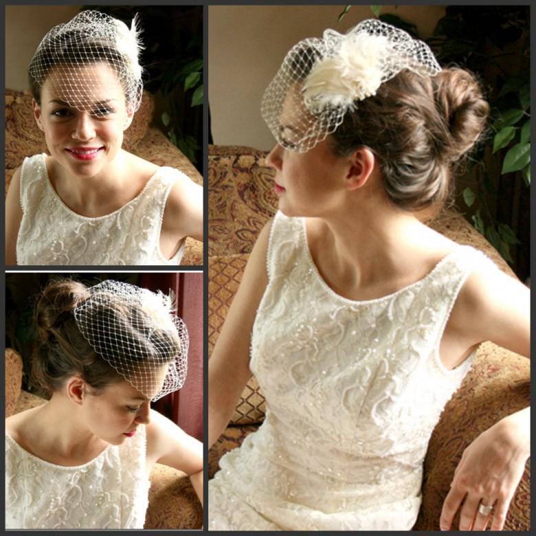 Short Tulle Bridal Wedding Veil White Feather 2013 Women Bridal ...