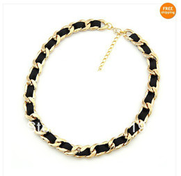 Wholesale Gold Chain Necklace Black Ribbon - fashion Gold curb chain black ribbon knitting costume necklace 38''-- 43''(15''--17cm) long, HOT !!
