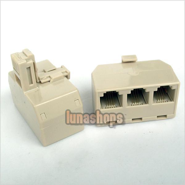 rj11 phone line modem connector triple adapter splitter. Black Bedroom Furniture Sets. Home Design Ideas
