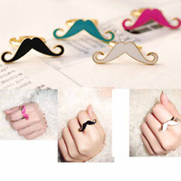 Wholesale Moustache Charms - Moustache Finger Rings Lovely Popular Handlebar Mustache Charm Bague Ring Finger Jewelry 4color