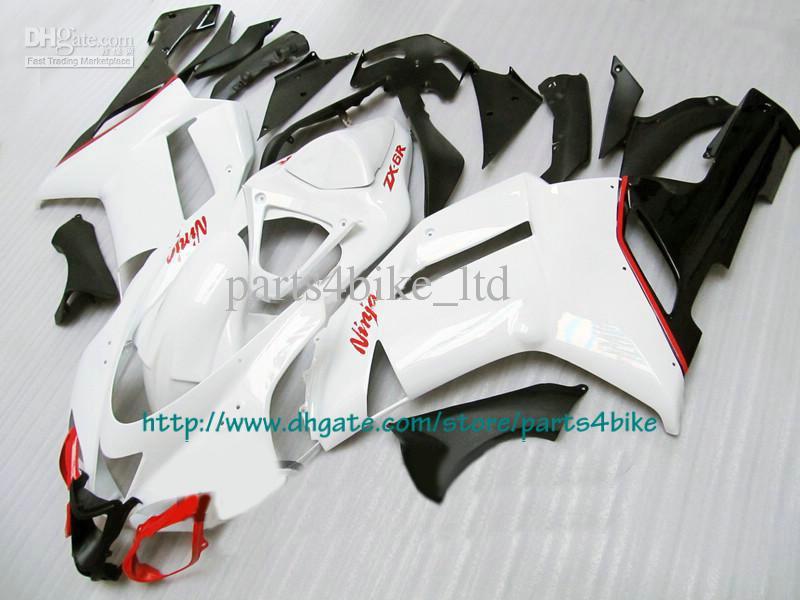 Цена низкая красный белый обтекатели для 2007 2008 Kawasaki Ninja ZX6R zx-6r ZX 6R 07 08 RX1c 1C