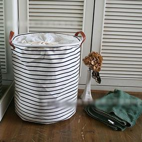 Canvas Striped Storage Boxs Bags Baskes Barrels Laundry Bin Foreign Trade  At Home Tag