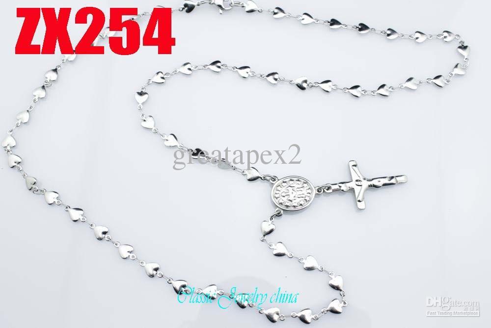 KUNAFIR Nueva llegada venta promoción 12 unids por lote mujeres collar de rosario de cadena de cruz de Jesús de acero inoxidable 5 MM en forma de corazón 550-750mm ZX254