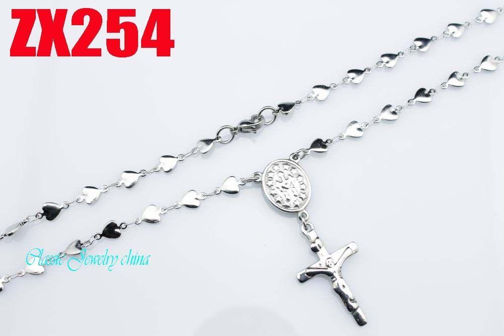 KUNAFIR Nouvelle arrivée vente promotion par femmes Jésus croix chaîne en acier inoxydable chapelet collier 5MM en forme de coeur 550-750mm ZX254