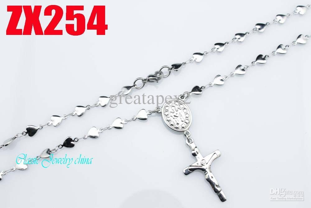 KUNAFIR Nuovo arrivo vendita promozione 12 pz lotto delle donne Gesù croce catena in acciaio inox rosario collana 5 MM a forma di cuore 550-750mm ZX254