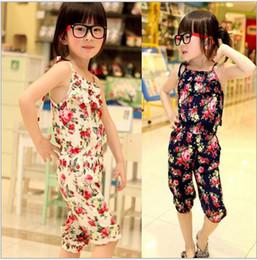 Wholesale Kids Coveralls Wholesale - 2016 new children girl Floral flower cotton suspenders coveralls long pant trousers fashion kid jumpsuit suits sets 5set lotedison168