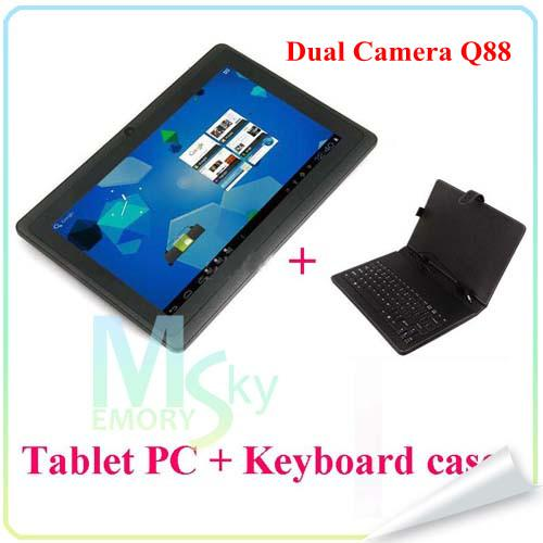 """top popular 7"""" Allwinner A23 A33 Q88 pro Quad core Tablet PC+Keyboards Cases Quad Core Dual Camera Android 4.4 1.5GHz 512MB 4GB Wifi Bluetooth 002609 2021"""