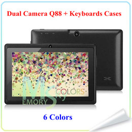 Blue Inch Tablet Canada - 7 Inch q88 A23 A33 Quad Core Allwinner A33 Android 4.4 Dual Camera 7 inch Capacitive A23 tablet pc 1.5GHz 512M 4G Kids Tablets Pad 002609