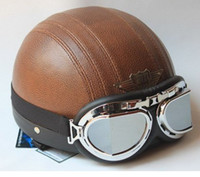New Half face PU leather Scooter Motorcycle helmet (Brown) w...