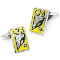 Wholesale Cuff Links Packaging - Rectangular Men's Cufflinks Prefess Caree CPA Special Cuff with Free Black Bag Gift Package LOGO Custom 800527
