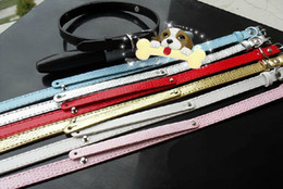 Wholesale Dog Collars For Slide Charms - 20strips 10*370mm Snake Skin PU Leather Pet Collar cat dog collar with 8MM slide bar fit for 8mm DIY charms