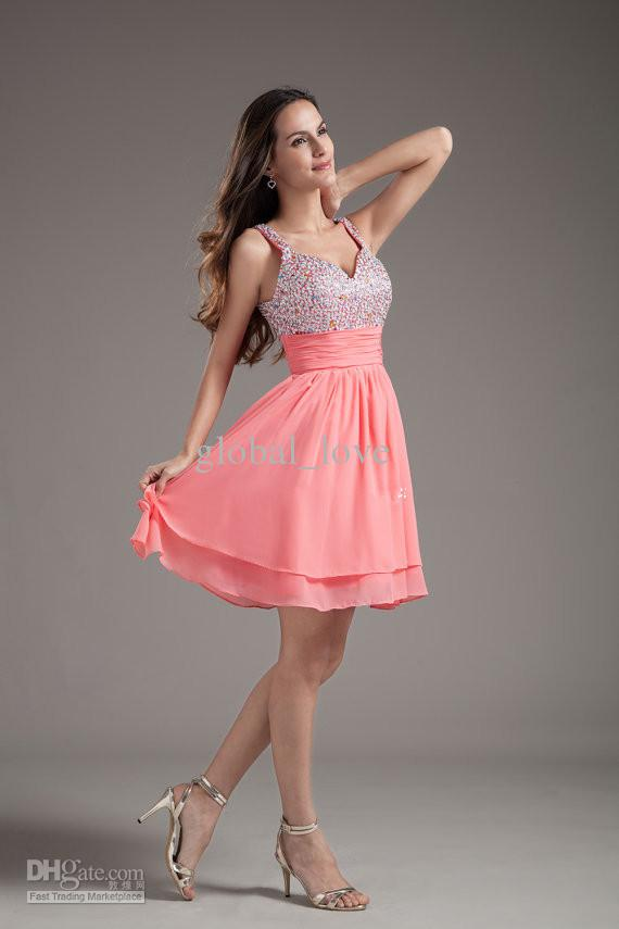 Cheap Homecoming Dresses Top Beaded Watermelon Short Straps Sexy ...