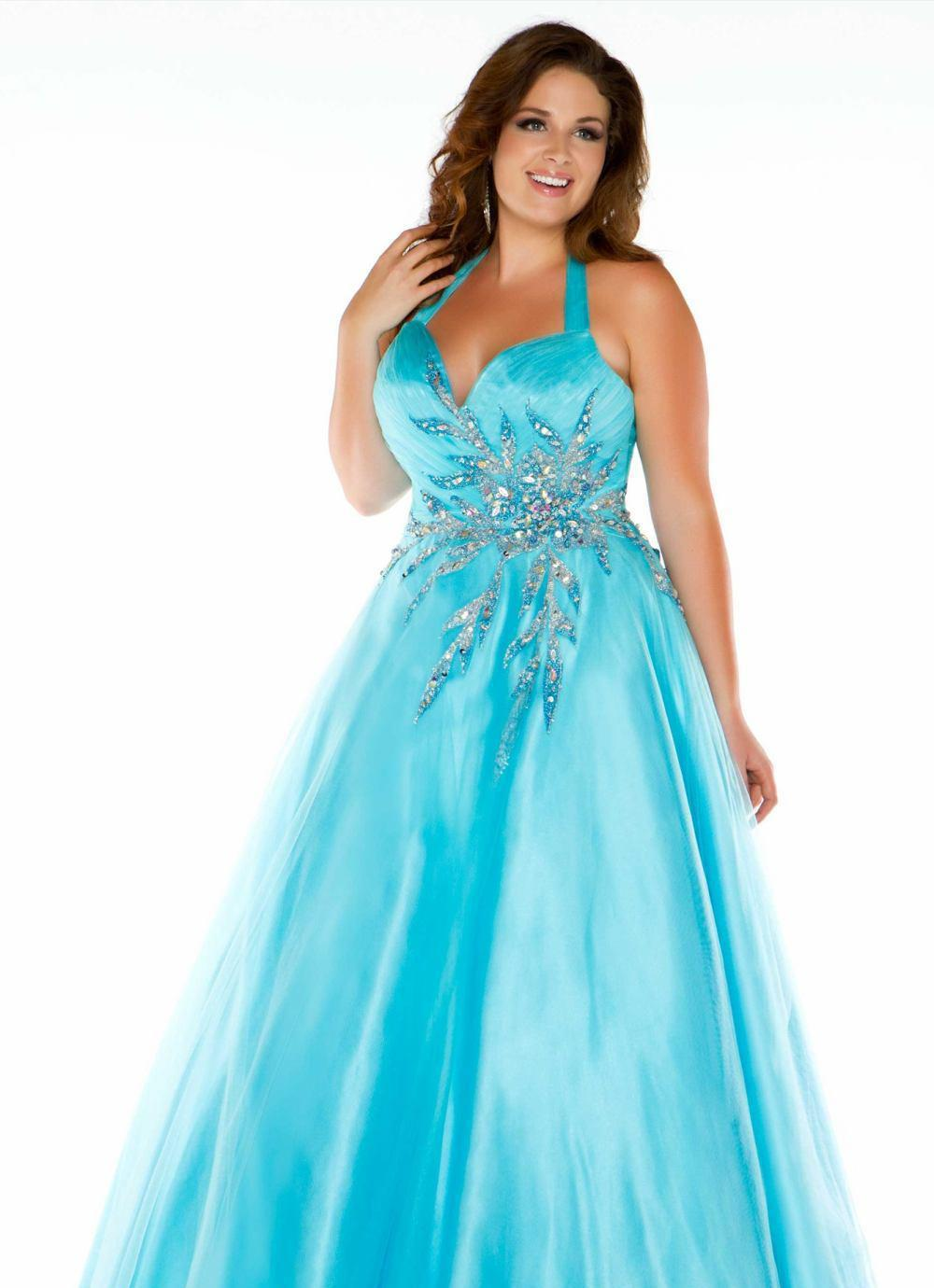 Cheap Plus Size Bet Selling Light Blue Halter Exquisite Beading ...
