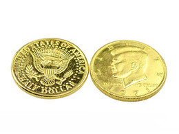 2 pcs / lot Couleur or Demi Dollar - Coin Magic