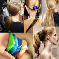 Wholesale Rubber Hair Wigs - New Hair band Fluorescent Color Wig Candy Color Hair Hoop Hair Bands For Women Mix Colors YW1