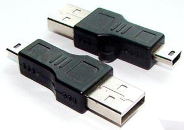 top popular Wholesale - USB A to Mini B Adapter Converter 5-Pin Data Cable Male M MP3 PDA DC Black 50pcs 2021