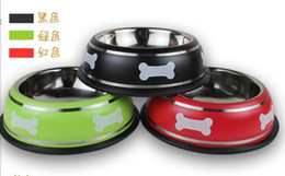 stainless steel pet bowl wholesalers Canada - Free shipping Pet Bowl Stainless Steel antiskid Dog bowl suitable for small medium and large dogs2pc