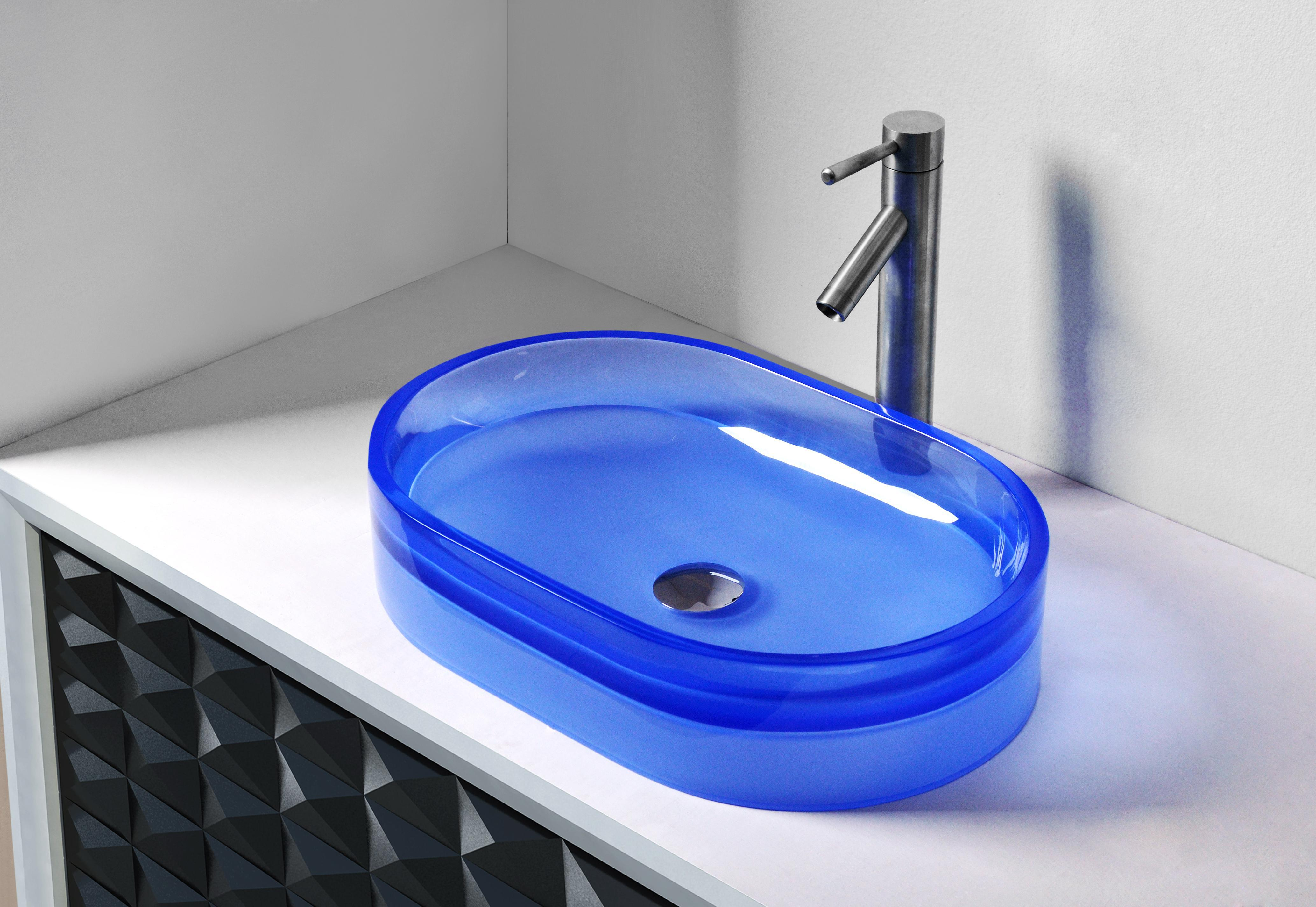 CUPC Certificate Bathroom Resin Oval Counter Top Sink Colourful Cloakroom Wash Basin Solid Surface Stone Vessel Sinks RS38279